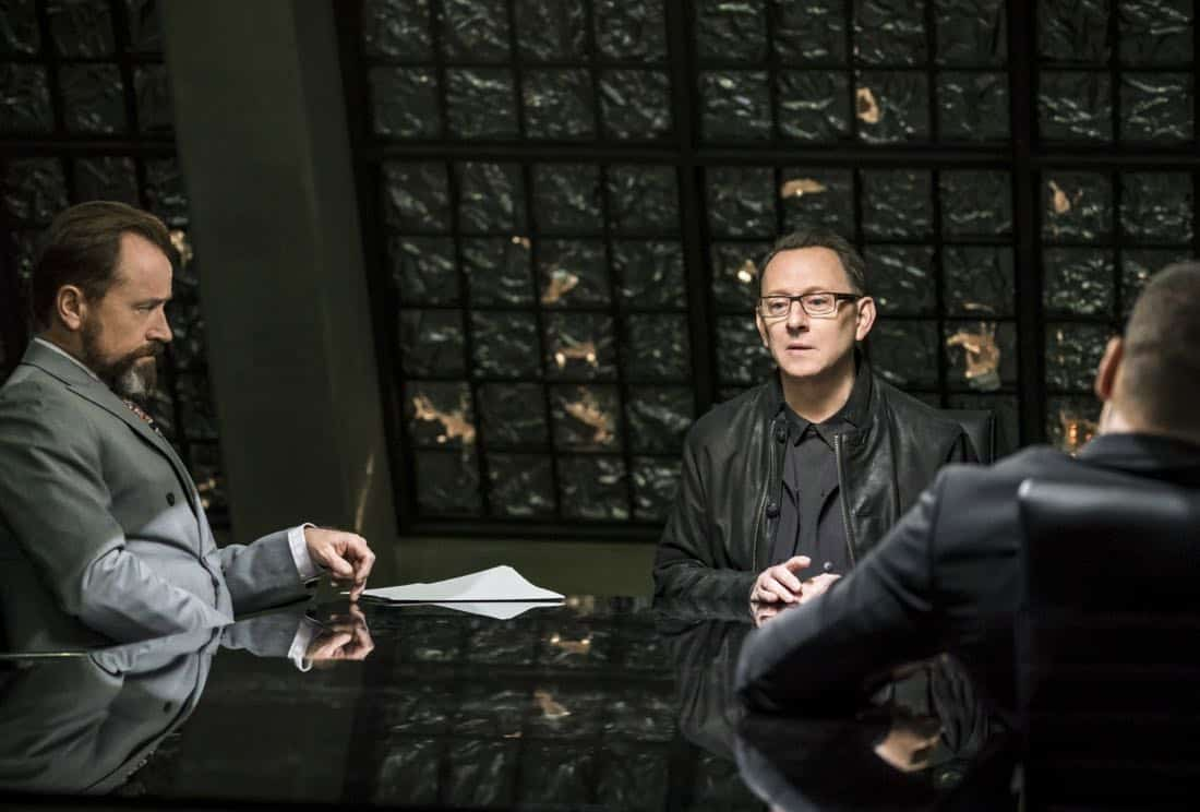 "Arrow -- ""Divided"" -- Image Number: AR610a_0302.jpg -- Pictured (L-R): David Nykl as Anatoly Knyazev and Michael Emerson as Cayden James -- Photo: Daniel Power/The CW -- © 2018 The CW Network, LLC. All Rights Reserved."