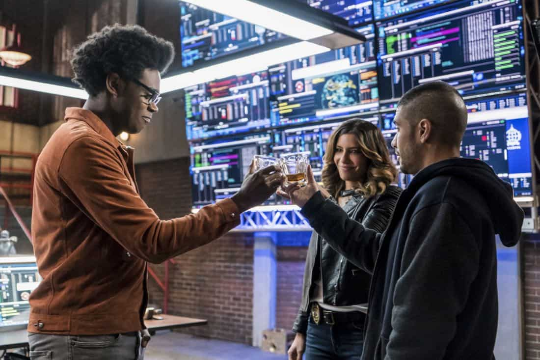 "Arrow -- ""Divided"" -- Image Number: AR610b_0056.jpg -- Pictured (L-R): Echo Kellum as Curtis Holt/Mr. Terrific, Juliana Harkavy as Dinah Drake/Black Canary and Rick Gonzalez as Rene Ramirez/Wild Dog -- Photo: Daniel Power/The CW -- © 2018 The CW Network, LLC. All Rights Reserved."