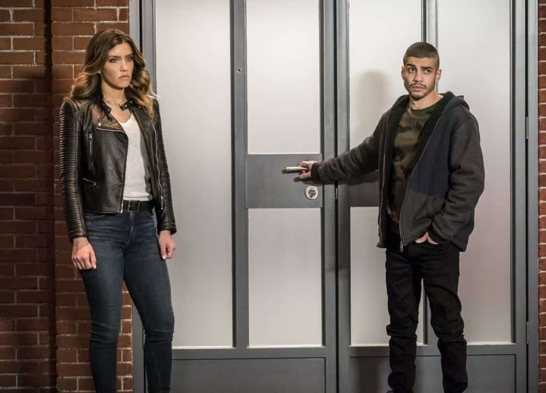 "Arrow -- ""Divided"" -- Image Number: AR610b_0144.jpg -- Pictured (L-R): Juliana Harkavy as Dinah Drake/Black Canary and Rick Gonzalez as Rene Ramirez/Wild Dog -- Photo: Daniel Power/The CW -- © 2018 The CW Network, LLC. All Rights Reserved."