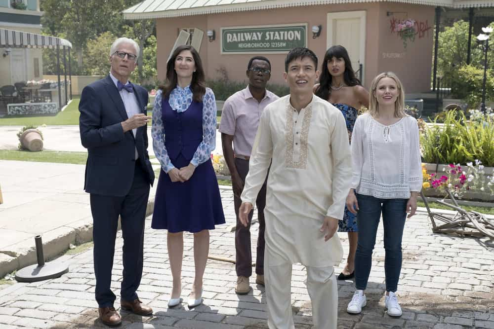 "THE GOOD PLACE -- ""Best Self"" Episode 210 -- Pictured: (l-r) Ted Danson as Michael, D'Arcy Carden as Janet, William Jackson Harper as Chidi, Manny Jacinto as Jianyu, Jameela Jamil as Tehani, Kristen Bell as Eleanor -- (Photo by: Colleen Hayes/NBC)"