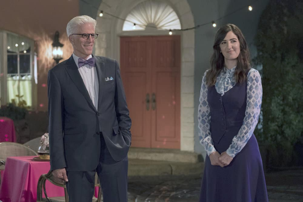 "THE GOOD PLACE -- ""Best Self"" Episode 210 -- Pictured: (l-r) Ted Danson as Michael, D'Arcy Carden as Janet -- (Photo by: Colleen Hayes/NBC)"
