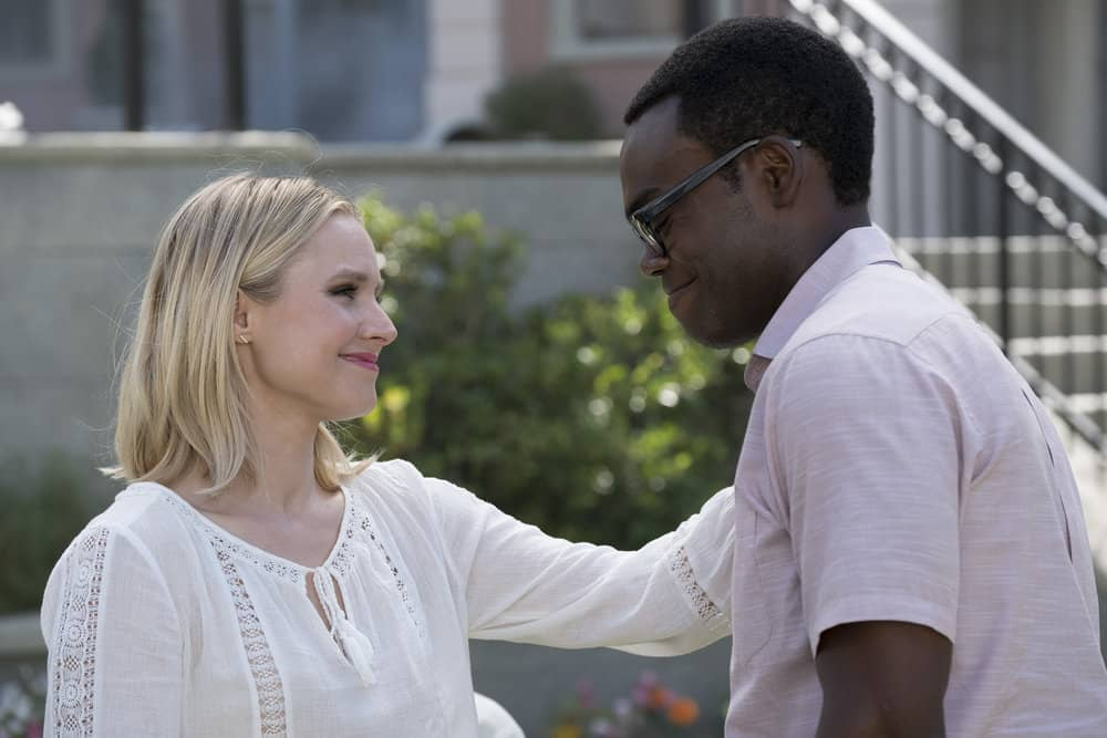 "THE GOOD PLACE -- ""Best Self"" Episode 210 -- Pictured: (l-r) Kristen Bell as Eleanor, William Jackson Harper as Chidi -- (Photo by: Colleen Hayes/NBC)"