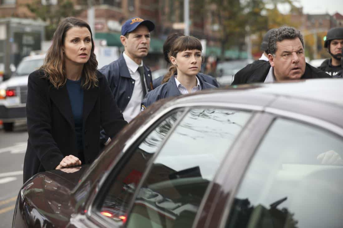 """Second Chances"" -- When a journalist disappears while working on an exposé about an innocent man serving time for murder, Danny and Baez hope that reexamining the original case will help find her. Also, Frank reluctantly speaks out against an initiative led by Erin's office to consider drug abuse as a disease first, and a crime second, on BLUE BLOODS, Friday, Jan. 5 (10:00-11:00 PM, ET/PT) on the CBS Television Network. Pictured: Bridget Moynahan, Steve Schirripa. Photo: Craig Blankenhorn/CBS  ©2017CBS Broadcasting Inc. All Rights Reserved."