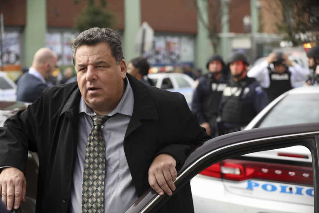 """Second Chances"" -- When a journalist disappears while working on an exposé about an innocent man serving time for murder, Danny and Baez hope that reexamining the original case will help find her. Also, Frank reluctantly speaks out against an initiative led by Erin's office to consider drug abuse as a disease first, and a crime second, on BLUE BLOODS, Friday, Jan. 5 (10:00-11:00 PM, ET/PT) on the CBS Television Network. Pictured:  Steve Schirripa. Photo: Craig Blankenhorn/CBS  ©2017CBS Broadcasting Inc. All Rights Reserved."