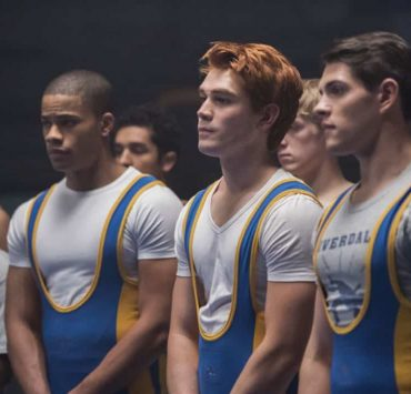 """Riverdale -- """"Chapter Twenty-Four: The Wrestler"""" -- Image Number: RVD211b_0242.jpg -- Pictured (L-R): Jordan Calloway as Chuck, KJ Apa as Archie and Casey Cott as Kevin -- Photo: Dean Buscher/The CW -- © 2018 The CW Network, LLC. All rights reserved."""