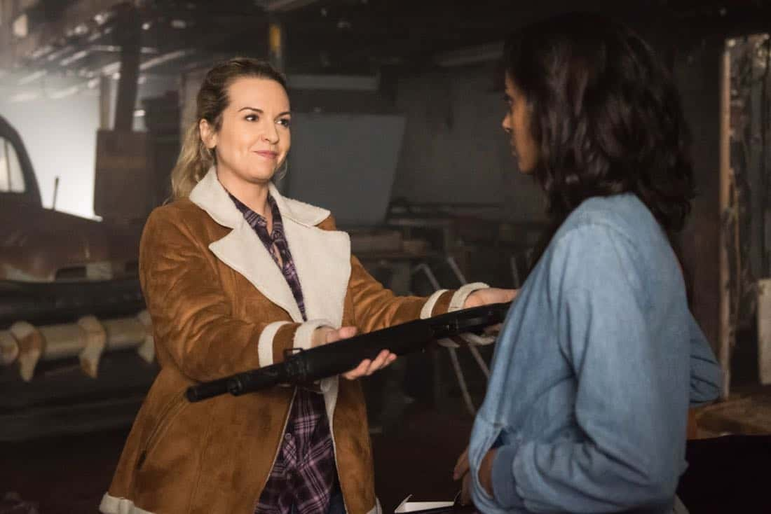 """Supernatural -- """"Wayward Sisters"""" -- Image Number: SN1310b_0381.jpg -- Pictured (L-R): Briana Buckmaster as Donna and Clark Backo as Patience -- Photo: Dean Buscher/The CW -- © 2017 The CW Network, LLC All Rights Reserved"""