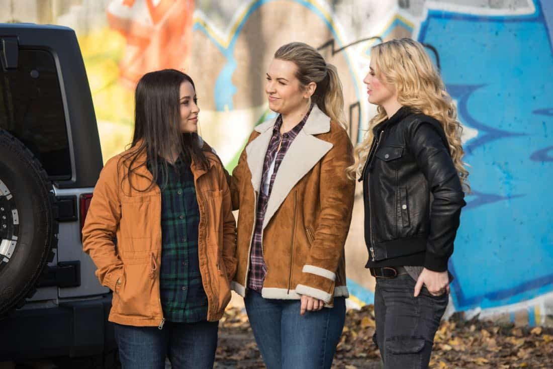 """Supernatural -- """"Wayward Sisters"""" -- Image Number: SN1310c_0113.jpg -- Pictured (L-R): Katherine Ramdeen as Alex, Briana Buckmaster as Donna and Kathryn Newton as Claire -- Photo: Dean Buscher/The CW -- © 2017 The CW Network, LLC All Rights Reserved"""