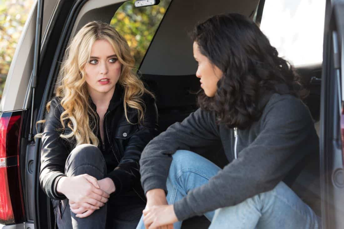 """Supernatural -- """"Wayward Sisters"""" -- Image Number: SN1310c_0215b.jpg -- Pictured (L-R): Kathryn Newton as Claire and Yadira Guevara - Prip as Kaia -- Photo: Dean Buscher/The CW -- © 2017 The CW Network, LLC All Rights Reserved"""