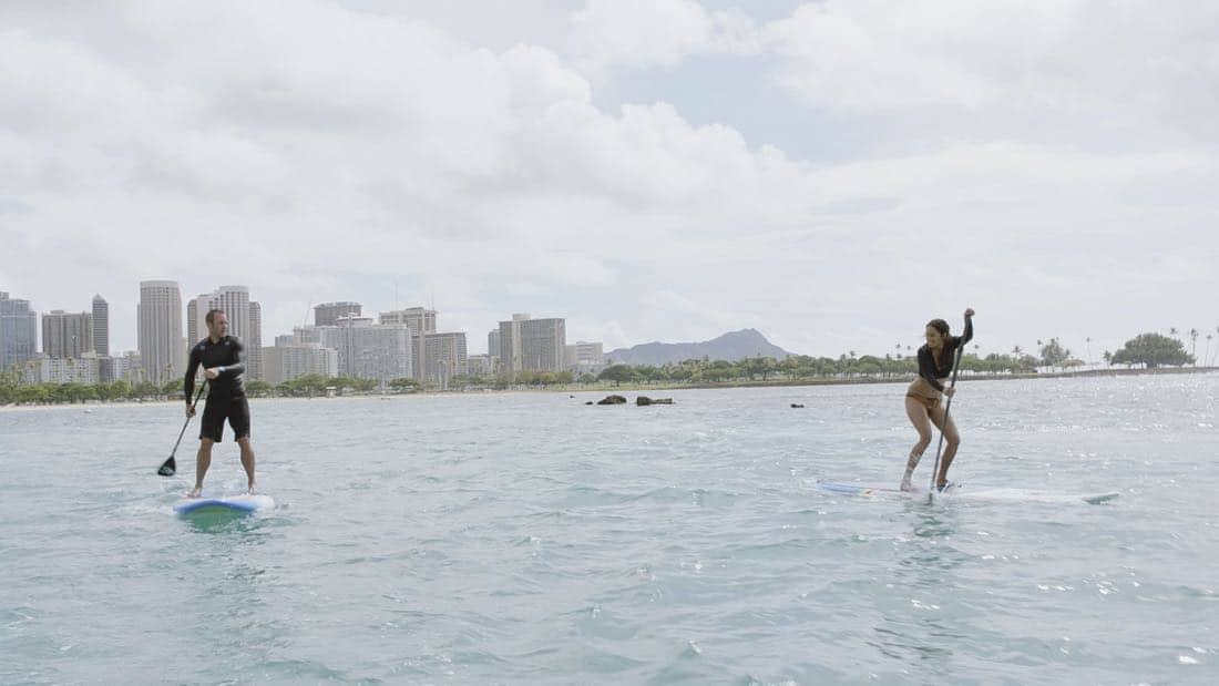 """O ka mea ua hala, ua hala ia.""-- When a man accused of killing his wife threatens to commit suicide, Grover reveals how he too was once on the brink of taking his own life, on HAWAII FIVE-0, Friday, Jan. 12 (9:00-10:00 PM, ET/PT) on the CBS Television Network. Chi McBride appears in a PSA for the National Suicide Prevention Lifeline at the end of the episode. Pictured left to right: Alex O'Loughlin as Steve McGarrett and Meaghan Rath as Tani Rey. Photo credit: Screengrab/©2017 CBS Broadcasting, Inc. All Rights Reserved.   (""O ka mea ua hala, ua hala ia."" is Hawaiian for ""What is Gone is Gone."")"