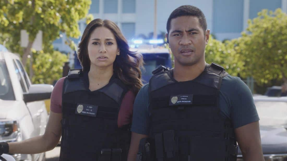"""O ka mea ua hala, ua hala ia.""-- When a man accused of killing his wife threatens to commit suicide, Grover reveals how he too was once on the brink of taking his own life, on HAWAII FIVE-0, Friday, Jan. 12 (9:00-10:00 PM, ET/PT) on the CBS Television Network. Chi McBride appears in a PSA for the National Suicide Prevention Lifeline at the end of the episode. Pictured left to right: Meaghan Rath as Tani Rey and Beulah Koale as Junior Reigns. Photo credit: Screengrab/©2017 CBS Broadcasting, Inc. All Rights Reserved.   (""O ka mea ua hala, ua hala ia."" is Hawaiian for ""What is Gone is Gone."")"
