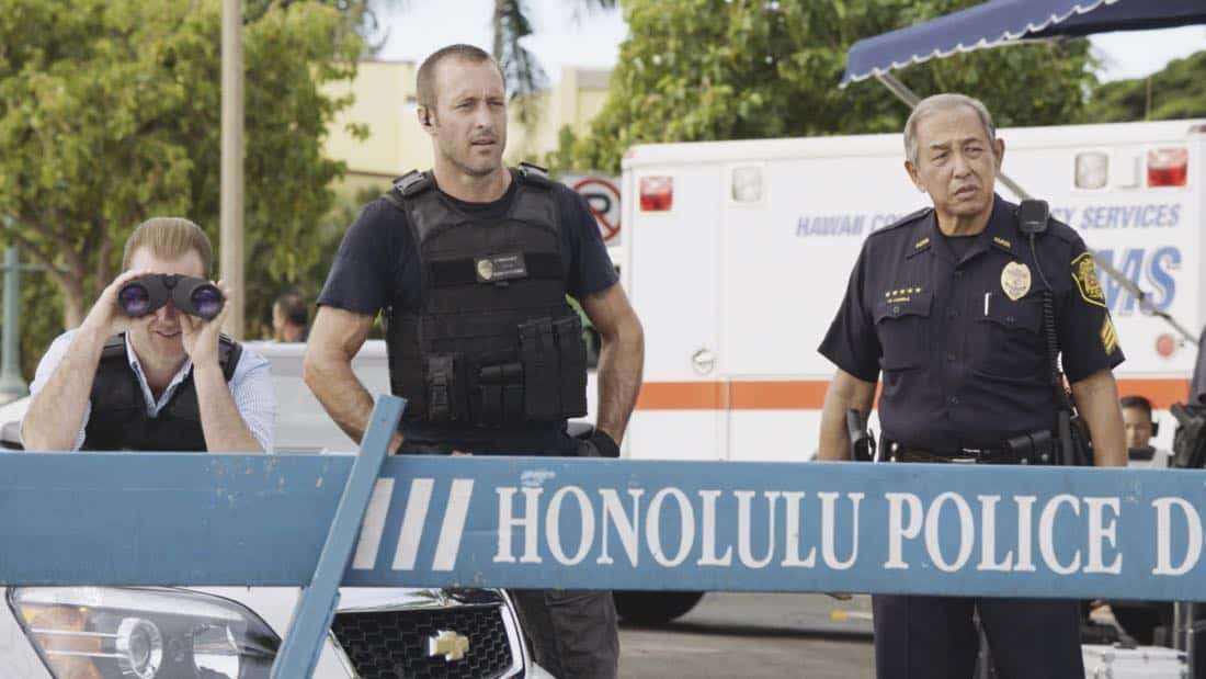 """O ka mea ua hala, ua hala ia.""-- When a man accused of killing his wife threatens to commit suicide, Grover reveals how he too was once on the brink of taking his own life, on HAWAII FIVE-0, Friday, Jan. 12 (9:00-10:00 PM, ET/PT) on the CBS Television Network. Chi McBride appears in a PSA for the National Suicide Prevention Lifeline at the end of the episode. Pictured left to right: Scott Caan as Danny ""Danno"" Williams, Alex O'Loughlin as Steve McGarrett, and Dennis Chun as Sgt. Duke Lukela. Photo credit: Screengrab/©2017 CBS Broadcasting, Inc. All Rights Reserved.   (""O ka mea ua hala, ua hala ia."" is Hawaiian for ""What is Gone is Gone."")"