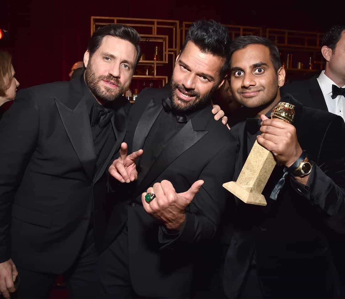 BEVERLY HILLS, CA - JANUARY 07:  Edgar Ramirez, Ricky Martin and Aziz Ansari attend the Netflix Golden Globes after party at Waldorf Astoria Beverly Hills on January 7, 2018 in Beverly Hills, California.  (Photo by Kevin Mazur/Getty Images for Netflix) *** Local Caption *** Edgar Ramirez; Ricky Martin; Aziz Ansari