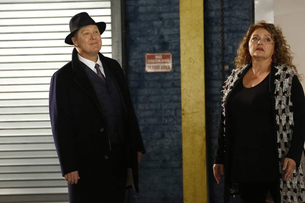 "THE BLACKLIST -- ""Abraham Stern (#100)"" Episode 511 -- Pictured: (l-r) James Spader as Raymond ""Red"" Reddington, Aida Turturro as Heddie Hawkins -- (Photo by: Will Hart/NBC)"