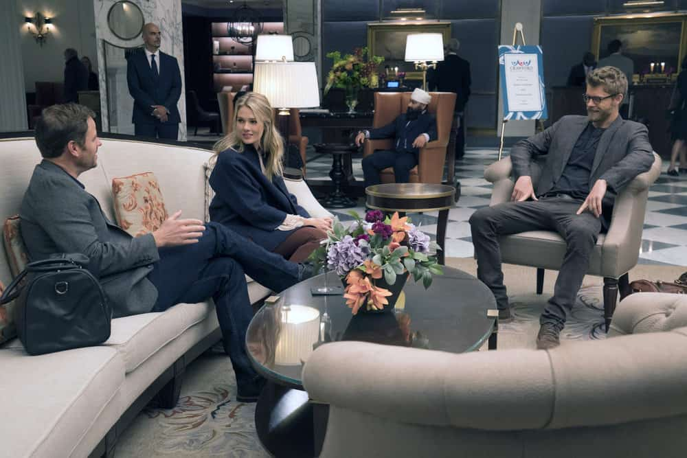 "BLINDSPOT -- ""Balance of Might"" Episode 310 -- Pictured: (l-r) Tori Anderson as Blake, Luke Mitchell as Roman -- (Photo by: Barbara Nitke/NBC)"