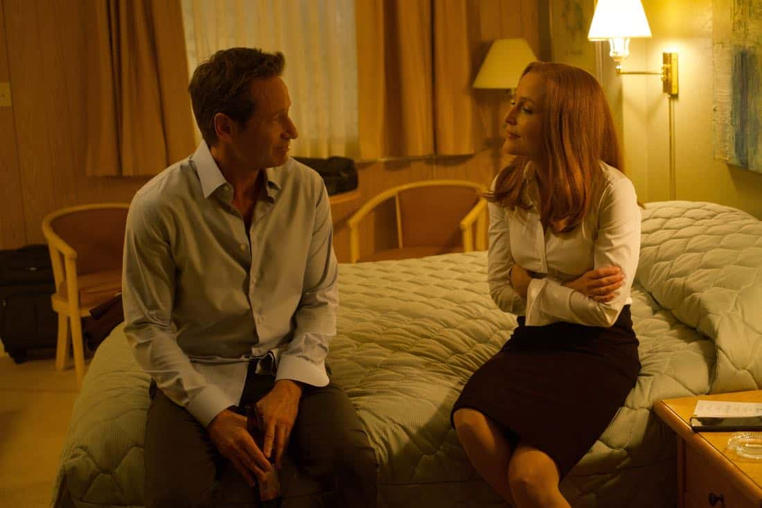 "THE X-FILES: L-R: David Duchovny and Gillian Anderson in the ""Plus One"" episode of THE X-FILES airing Wednesday, Jan. 17 (8:00-9:00 PM ET/PT) on FOX. ©2017 Fox Broadcasting Co. Cr: Shane Harvey/FOX"