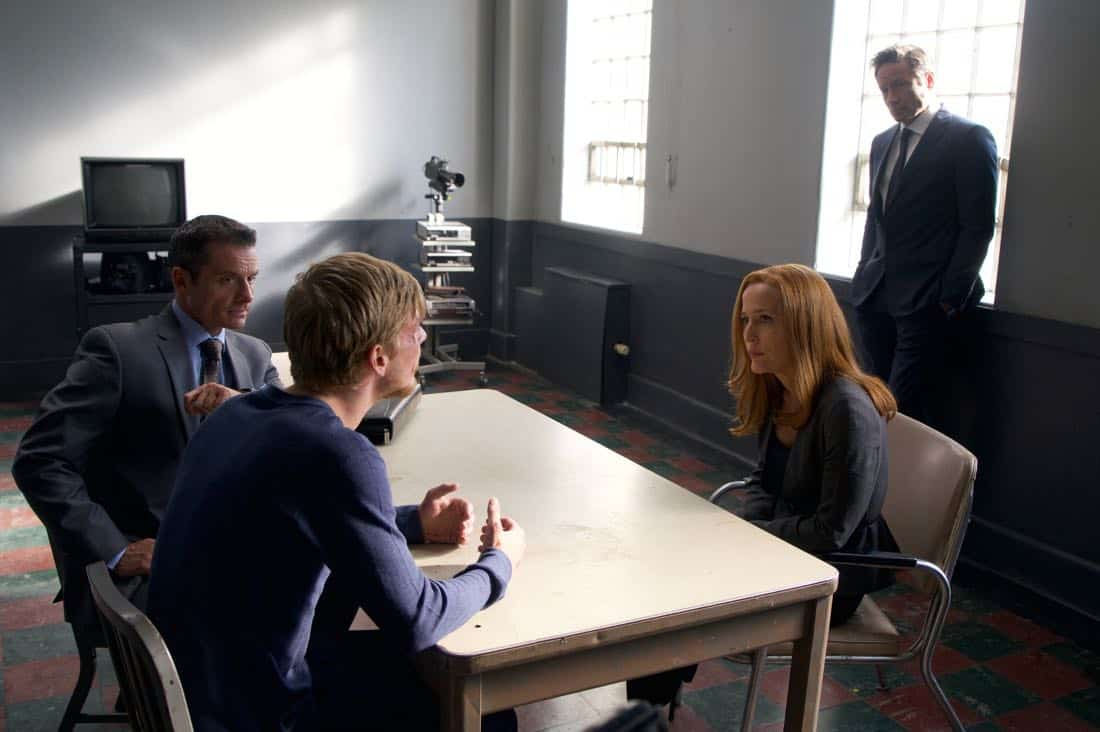 "THE X-FILES: L-R: Guest star Benjamin Wilkinson, guest star Jared Ager Foster, Gillian Anderson and David Duchovny in the ""Plus One"" season premiere episode of THE X-FILES airing Wednesday, Jan. 17 (8:00-9:00 PM ET/PT) on FOX. ©2017 Fox Broadcasting Co. Cr: Shane Harvey/FOX"