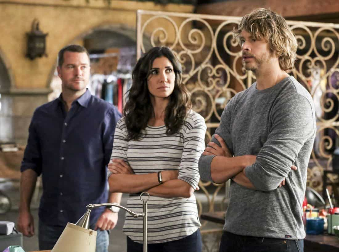 """Cac Tu Nhan"" -- Pictured: Chris O'Donnell (Special Agent G. Callen), Daniela Ruah (Special Agent Kensi Blye) and Eric Christian Olsen (LAPD Liaison Marty Deeks). While Hetty is being tortured by her captors in Vietnam, Eric and Nell find a clue to her whereabouts, prompting the team to organize a rescue mission with very little information, on NCIS: LOS ANGELES, Sunday, Jan. 14 (9:00-10:00 PM, ET/PT) on the CBS Television Network. Carl Lumbly guest stars as Charles Langston and John M. Jackson guest stars as A.J. Chegwidden. Photo: Michael Yarish/CBS ©2017 CBS Broadcasting, Inc. All Rights Reserved."