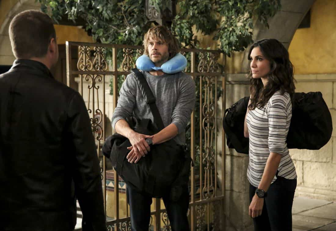 """Cac Tu Nhan"" -- Pictured: Eric Christian Olsen (LAPD Liaison Marty Deeks) and Daniela Ruah (Special Agent Kensi Blye). While Hetty is being tortured by her captors in Vietnam, Eric and Nell find a clue to her whereabouts, prompting the team to organize a rescue mission with very little information, on NCIS: LOS ANGELES, Sunday, Jan. 14 (9:00-10:00 PM, ET/PT) on the CBS Television Network. Carl Lumbly guest stars as Charles Langston and John M. Jackson guest stars as A.J. Chegwidden. Photo: Michael Yarish/CBS ©2017 CBS Broadcasting, Inc. All Rights Reserved."