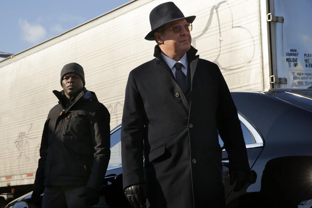 "THE BLACKLIST -- ""Tommy Wattles (#56)"" Episode 512 -- Pictured: (l-r) Hisham Tawfiq as Dembe Zuma, James Spader as Raymond ""Red"" Reddington -- (Photo by: Will Hart/NBC)"