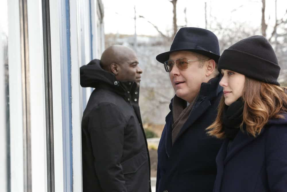 "THE BLACKLIST -- ""Tommy Wattles (#56)"" Episode 512 -- Pictured: (l-r) Hisham Tawfiq as Dembe Zuma, James Spader as Raymond ""Red"" Reddington, Megan Boone as Elizabeth Keen -- (Photo by: Will Hart/NBC)"
