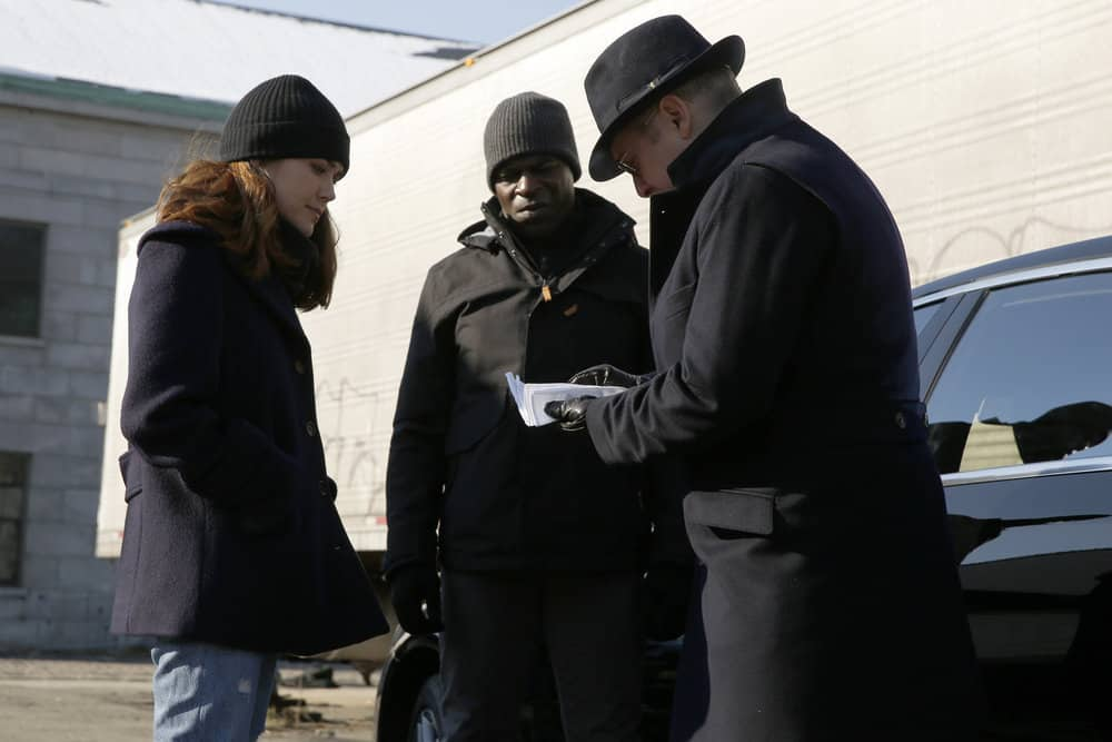 "THE BLACKLIST -- ""Tommy Wattles (#56)"" Episode 512 -- Pictured: (l-r) Megan Boone as Elizabeth Keen, Hisham Tawfiq as Dembe Zuma, James Spader as Raymond ""Red"" Reddington -- (Photo by: Will Hart/NBC)"