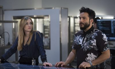 "BLINDSPOT -- ""Technology Wizards"" Episode 311 -- Pictured: (l-r) Ashley Johnson as Patterson, Ennis Esmer as Rich Dotcom -- (Photo by: Eric Liebowitz/NBC)"