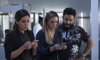 "BLINDSPOT -- ""Technology Wizards"" Episode 311 -- Pictured: (l-r) Audrey Esparza as Tasha Zapata, Ashley Johnson as Patterson, Ennis Esmer as Rich Dotcom -- (Photo by: Eric Liebowitz/NBC)"