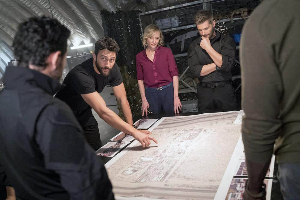 """THE BRAVE -- """"Close to Home: Part 2"""" Episode 113 -- Pictured: (l-r) Noah Mills as Sergeant Joseph """"McG"""" McGuire, Anne Heche as Patricia Campbell, Mike Vogel as Captain Adam Dalton -- (Photo by: Lewis Jacobs/NBC)"""