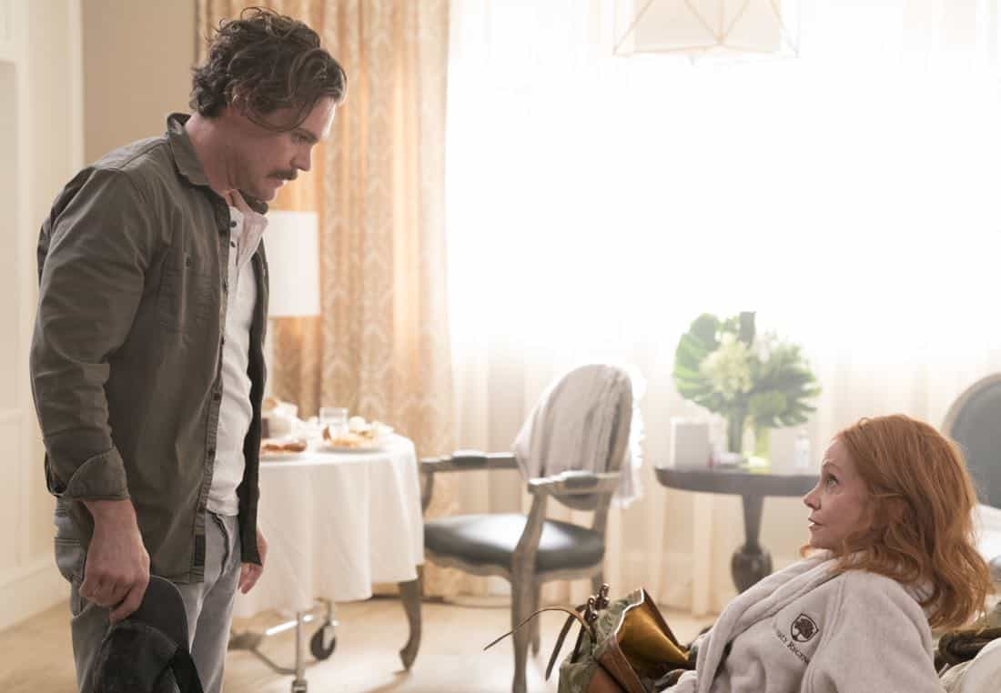 "LETHAL WEAPON: Pictured L-R: Clayne Crawford and guest star Swoosie Kurtz in the ""An Inconvenient Ruth"" episode of LETHAL WEAPON airing Tuesday, Feb. 6 (8:00-9:00 PM ET/PT) on FOX. ©2018 Fox Broadcasting Co. CR: Erik Voake/FOX"