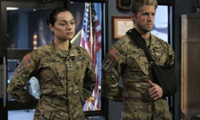 "Valor -- ""Costs of War"" -- Image Number: VAL113c_0149b.jpg -- Pictured (L-R): Christina Ochoa as Warrant Officer Nora Madani and Matt Barr as Captain Leland Gallo -- Photo: Erika Doss -- © 2017 The CW Network, LLC All Rights Reserved."