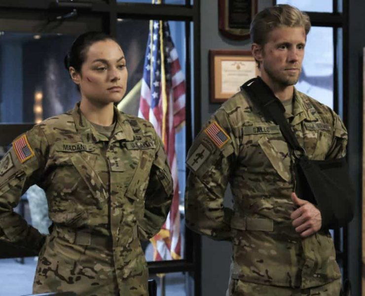 """Valor -- """"Costs of War"""" -- Image Number: VAL113c_0149b.jpg -- Pictured (L-R): Christina Ochoa as Warrant Officer Nora Madani and Matt Barr as Captain Leland Gallo -- Photo: Erika Doss -- © 2017 The CW Network, LLC All Rights Reserved."""