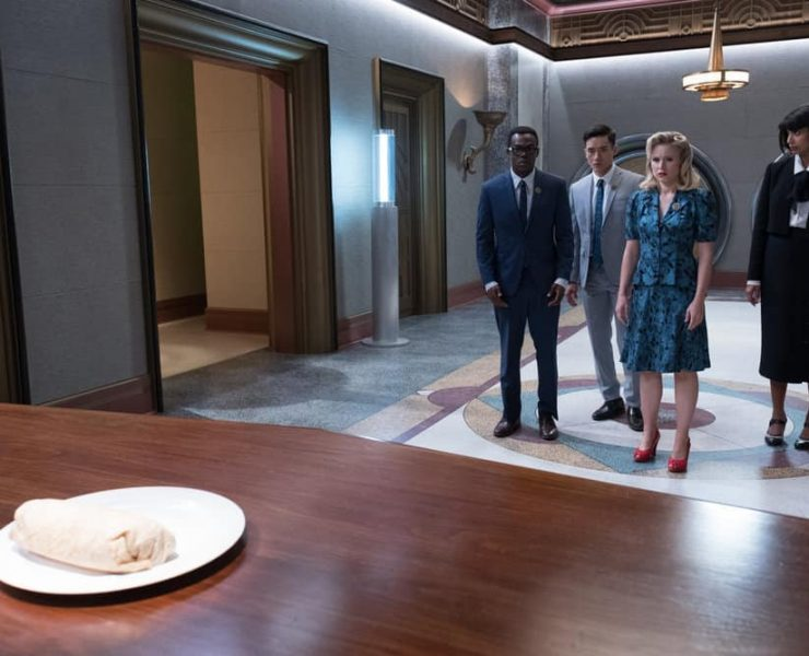"THE GOOD PLACE -- ""The Burrito"" Episode 212 -- Pictured: (l-r) William Jackson Harper as Chidi, Manny Jacinto as Jianyu, Kristen Bell as Eleanor, Jameela Jamil as Tahani -- (Photo by: Colleen Hayes/NBC)"