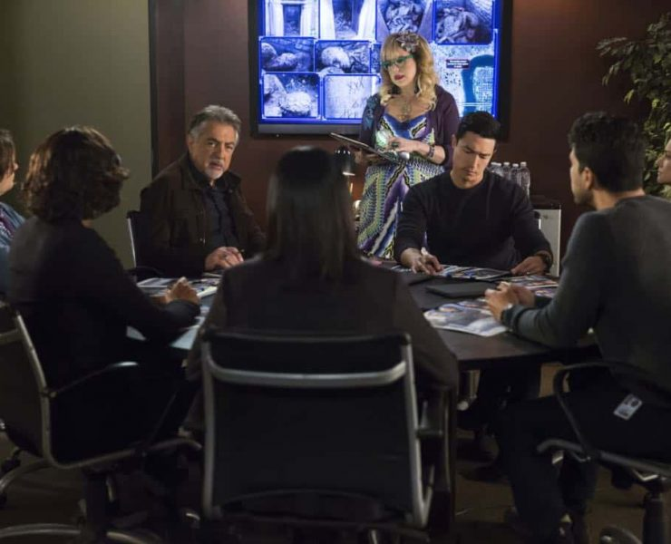 """""""Miasma"""" -- The BAU is called when the New Orleans P.D. discovers a mass grave inside a vandalized above-ground crypt in a local cemetery, on CRIMINAL MINDS, Wednesday, Jan. 31 (10:00-11:00 PM, ET/PT) on the CBS Television Network. Pictured: Joe Mantegna (David Rossi), Kirsten Vangsness (Penelope Garcia), Daniel Henney (Matt Simmons), A.J. Cook (Jennifer Jareau) Photo: Cliff Lipson/CBS ©2017 CBS Broadcasting, Inc. All Rights Reserved"""