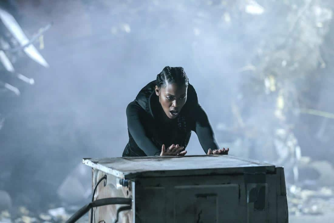 "Black Lightning -- ""LaWanda: The Book of Burial"" -- Image BLK103a_0162.jpg -- Pictured: Nafessa Williams as Anissa Pierce -- Photo: Carin Baer/The CW -- © 2018 The CW Network, LLC. All rights reserved."