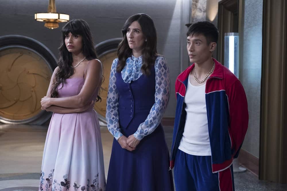 """THE GOOD PLACE -- """"Somewhere Else"""" Episode 213 -- Pictured: (l-r) Jameela Jamil as Tahani, D'Arcy Carden as Janet, Manny Jacinto as Jianyu -- (Photo by: Colleen Hayes/NBC)"""