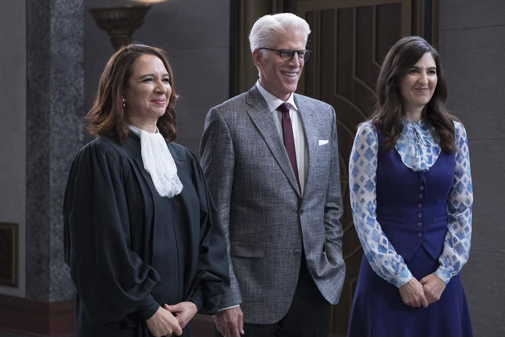 """THE GOOD PLACE -- """"Somewhere Else"""" Episode 213 -- Pictured: (l-r) Maya Rudolph as Judge, Ted Danson as Michael, D'Arcy Carden as Janet -- (Photo by: Colleen Hayes/NBC)"""