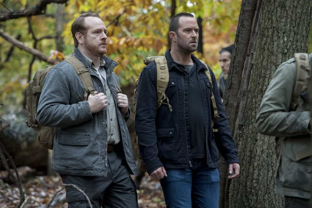 "BLINDSPOT -- ""Two Legendary Chums"" Episode 312 --  Pictured: (l-r) Darren Goldstein as Donald Shipley, Sullivan Stapleton as Kurt Weller -- (Photo by: David Giesbrecht/NBC/Warner Bros.)"