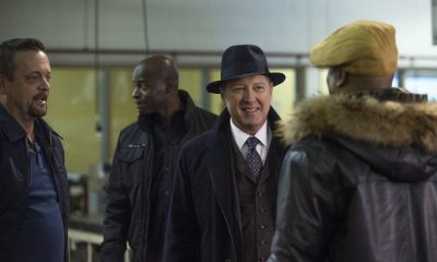 "THE BLACKLIST -- ""The Invisible Hand (#63)"" Episode 513 -- Pictured: (l-r) Lenny Venito as Tony Pagliaro, Hisham Tawfiq as Dembe Zuma, James Spader as Raymond ""Red"" Reddington -- (Photo by: Eric Leibowitz/NBC)"