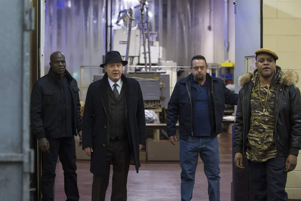 "THE BLACKLIST -- ""The Invisible Hand (#63)"" Episode 513 -- Pictured: (l-r) Hisham Tawfiq as Dembe Zuma, James Spader as Raymond ""Red"" Reddington, Lenny Venito as Tony Pagliaro, Kevin Mambo as Big Willie Wilkins -- (Photo by: Eric Leibowitz/NBC)"