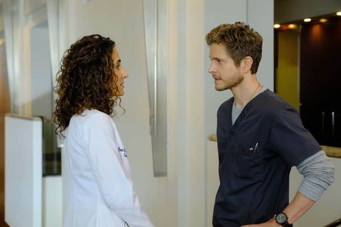 "THE RESIDENT:  L-R:  Melina Kanakaredes and Matt Czuchry in the ""Identity Crisis"" episode of THE RESIDENT airing Monday, Feb. 5 (8:00-9:00 PM ET/PT) on FOX.  ©2018 Fox Broadcasting Co.  Cr:  Guy D'Alema/FOX"