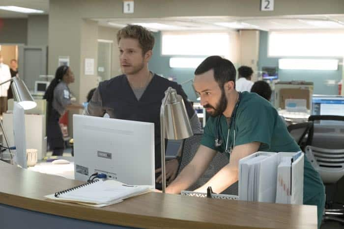 "THE RESIDENT:  L-R:  Matt Czuchry and guest star Tasso Feldman in the ""Identity Crisis"" episode of THE RESIDENT airing Monday, Feb. 5 (8:00-9:00 PM ET/PT) on FOX.  ©2018 Fox Broadcasting Co.  Cr:  Guy D'Alema/FOX"