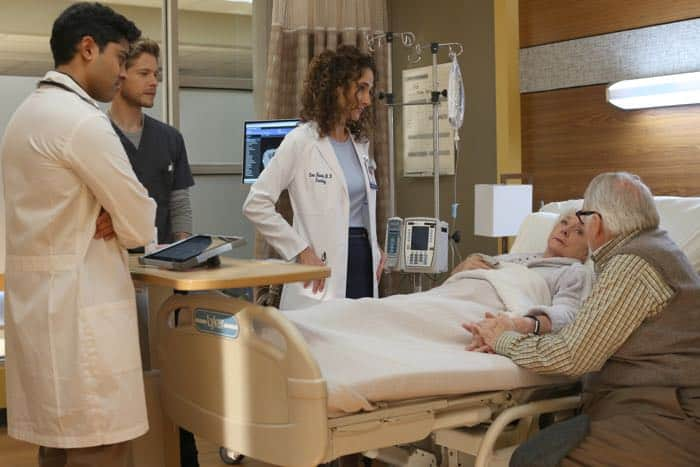 "THE RESIDENT:  L-R:  Manish Dayal, Matt Czuchry, Melina Kanakaredes, guest star Jenny O'Hara and guest star Dakin Matthews in the ""Identity Crisis"" episode of THE RESIDENT airing Monday, Feb. 5 (8:00-9:00 PM ET/PT) on FOX.  ©2018 Fox Broadcasting Co.  Cr:  Guy D'Alema/FOX"