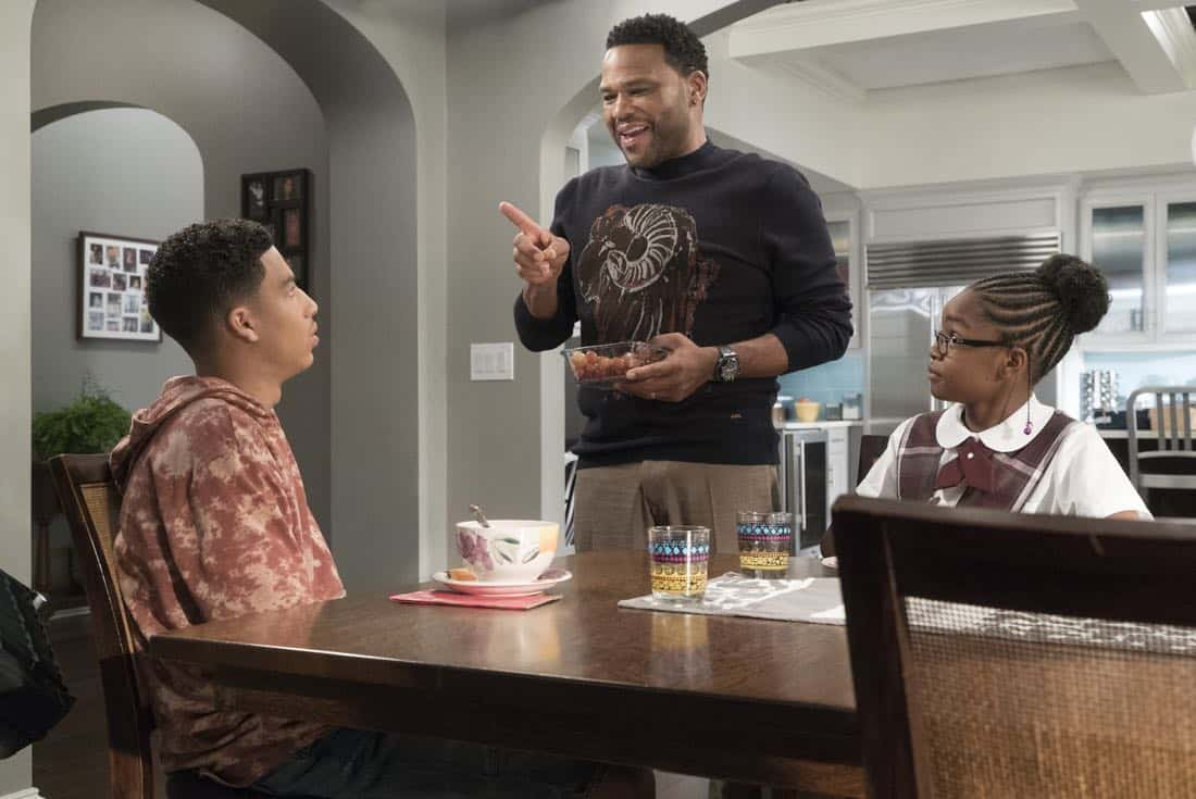 "BLACK-ISH - ""Unkept Woman"" - Dre and Bow's morning routine with the kids is changing now that Bow is taking some time off work. Meanwhile, Junior bonds with Diane now that he is in charge of driving his siblings to school, on ""black-ish,"" TUESDAY, FEB. 6 (9:00-9:30 p.m. EST), on The ABC Television Network. (ABC/Kelsey McNeal) MARCUS SCRIBNER, ANTHONY ANDERSON, MARSAI MARTIN"