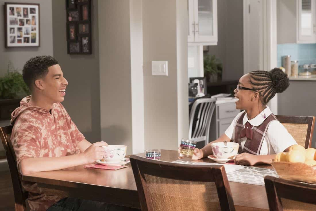 "BLACK-ISH - ""Unkept Woman"" - Dre and Bow's morning routine with the kids is changing now that Bow is taking some time off work. Meanwhile, Junior bonds with Diane now that he is in charge of driving his siblings to school, on ""black-ish,"" TUESDAY, FEB. 6 (9:00-9:30 p.m. EST), on The ABC Television Network. (ABC/Kelsey McNeal) MARCUS SCRIBNER, MARSAI MARTIN"