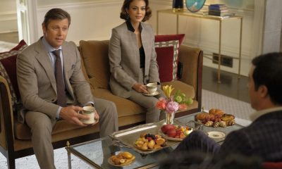 "Dynasty -- ""Nothing But Trouble"" -- Image Number: DYN113a_0110b.jpg -- Pictured (L-R): Grant Show as Blake and Nathalie Kelley as Cristal -- Photo: Mark Hill/The CW -- © 2018 The CW Network, LLC. All Rights Reserved."