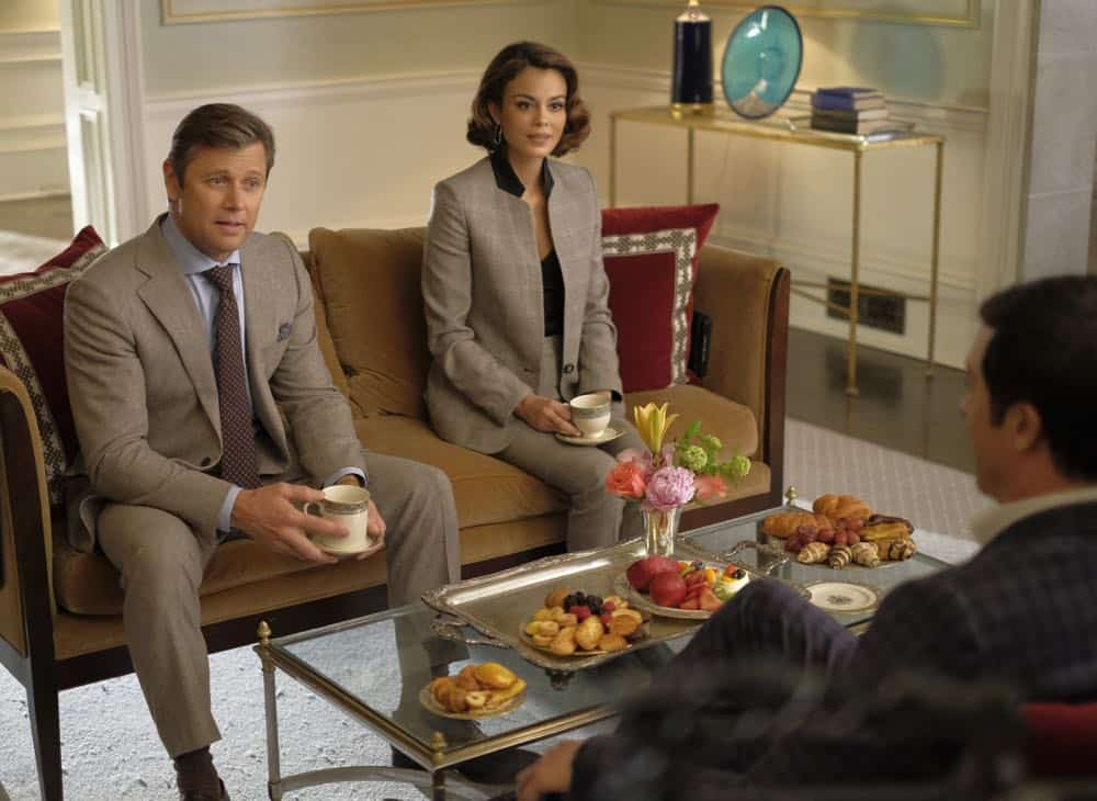 """Dynasty -- """"Nothing But Trouble"""" -- Image Number: DYN113a_0110b.jpg -- Pictured (L-R): Grant Show as Blake and Nathalie Kelley as Cristal -- Photo: Mark Hill/The CW -- © 2018 The CW Network, LLC. All Rights Reserved."""