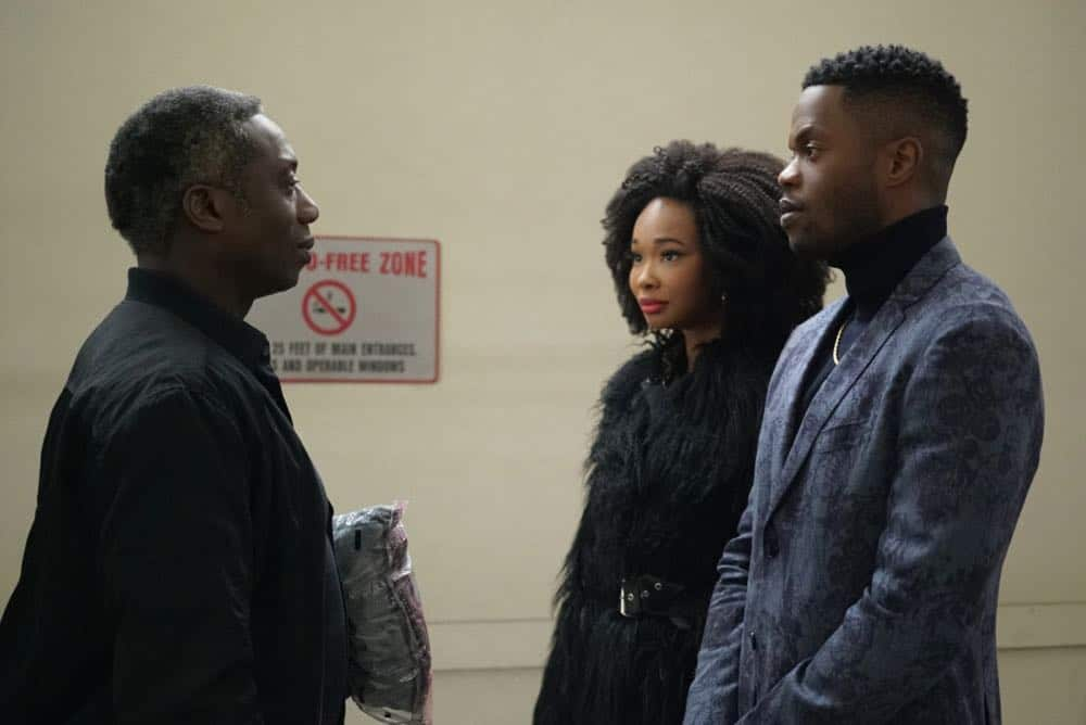 """Dynasty -- """"Nothing But Trouble"""" -- Image Number: DYN113b_0044b.jpg -- Pictured (L-R): Hakeem Kae-Kazim as Cecil Colby, Wakeema Hollis as Monica and Sam Adegoke as Jeff -- Photo: Annette Brown/The CW -- © 2018 The CW Network, LLC. All Rights Reserved."""