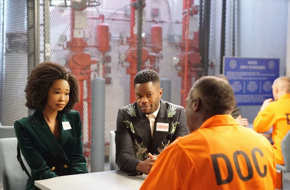 """Dynasty -- """"Nothing But Trouble"""" -- Image Number: DYN113b_0293b.jpg -- Pictured (L-R): Wakeema Hollis as Monica, Sam Adegoke as Jeff and Hakeem Kae-Kazim as Cecil Colby -- Photo: Annette Brown/The CW -- © 2018 The CW Network, LLC. All Rights Reserved."""
