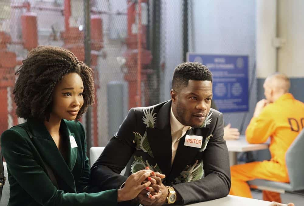 """Dynasty -- """"Nothing But Trouble"""" -- Image Number: DYN113b_0227b.jpg -- Pictured (L-R): Wakeema Hollis as Monica and Sam Adegoke as Jeff -- Photo: Annette Brown/The CW -- © 2018 The CW Network, LLC. All Rights Reserved."""