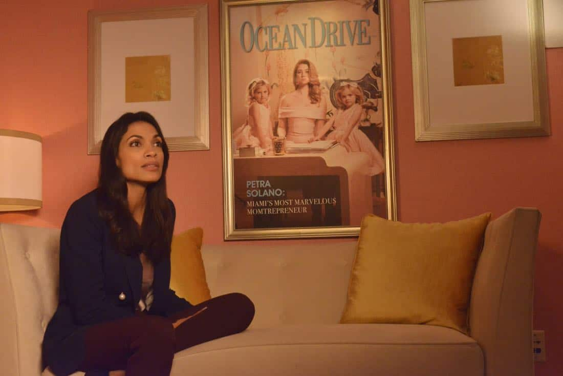 "Jane The Virgin -- ""Chapter Seventy-Four"" -- Image Number: JAV410c_0053.jpg -- Pictured: Rosario Dawson as Jane Ramos -- Photo: Lisa Rose/The CW -- © 2018 The CW Network, LLC. All Rights Reserved."